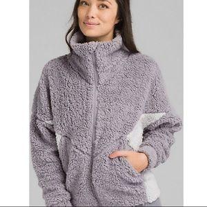 PRANA Permafrost Grey Teddy Zip Fluffy Jacket Coat